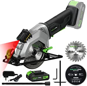 """GALAX PRO 20V 4-1/2"""" Cordless Circular Saw with Laser Guide, Rip Guide, 2 PCS Blades, 3400RPM, Max Cutting Depth 1-11/16""""(90°), 1-1/8""""(45°)"""