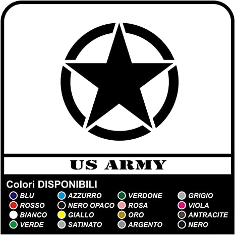 2 Adesivi Stella Militare cm 20x20 US ARMY fuoristrada 4X4 NERO OPACO