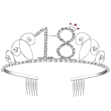 Ouinne Tiara Cristal Cumpleaños Corona Princesa Feliz Cumpleaños de Número 18 Accesorios con Peine