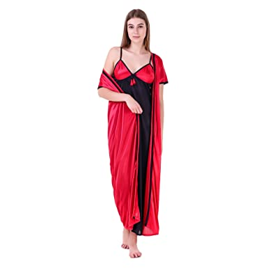 MILIT Satin Contrast 2 Pc Nightwear Nighty with Robe (Pink   Black)  Amazon. in  Clothing   Accessories 4b149a93d