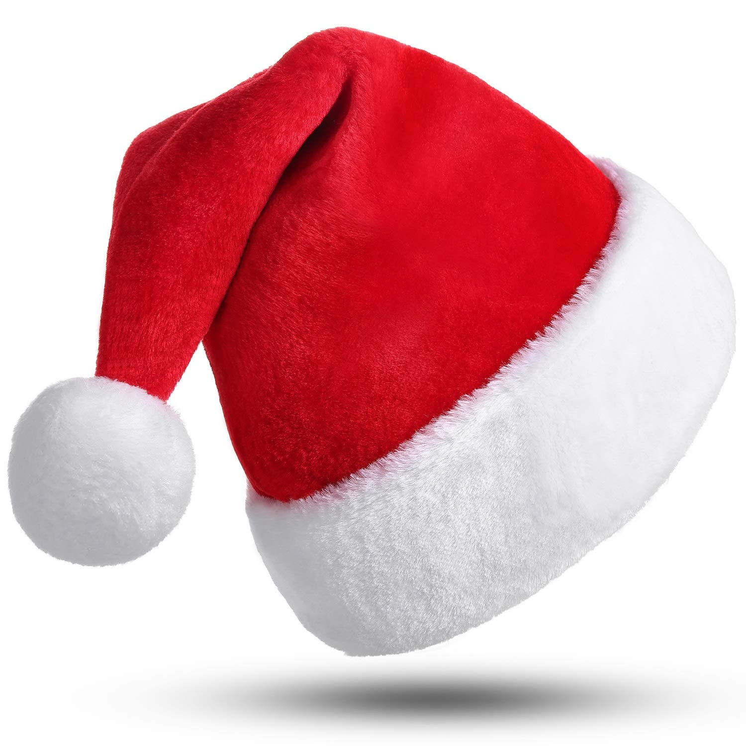 3adfe9aaf8dde Amazon.com  Phyxin Santa Hat Christmas Hat Christmas Luxury Plush Hat  Classic Christmas Santa Claus Cap for Unisex Adult Xmas Caps Decoration   Toys   Games