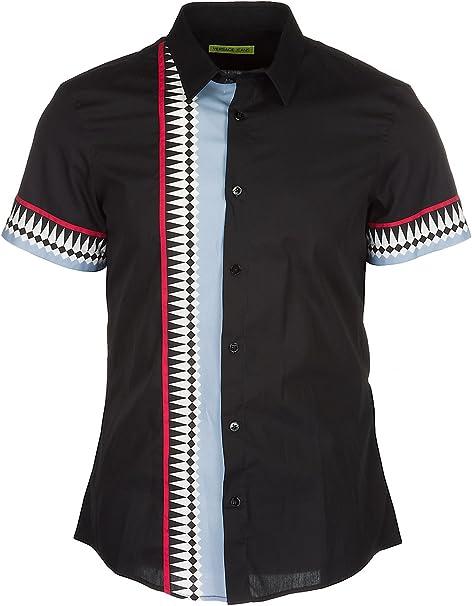 Versace Jeans Camisa de Mangas Cortas Hombre Negro: Amazon.es: Ropa y accesorios