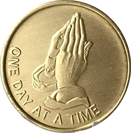 Recovery coin AA Gold Plate Medallion token affirmation One Day at a Time Sober
