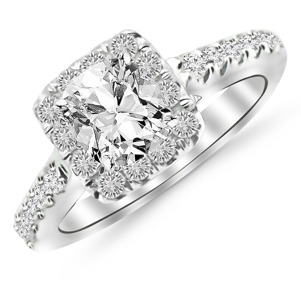 1.5 Ctw Cushion Cut Square Halo Cushion 14K White Gold Diamond Engagement Ring (J-K Color I1-I2 Clarity 1 Ct Center)