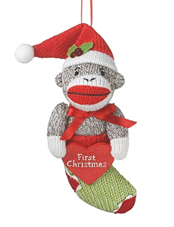 Amazon.com: Babys First Christmas Sock Monkey in Stocking Holiday ...