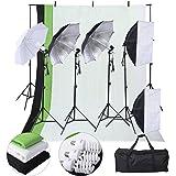Safstar Photo Video Studio Lighting Kit Photography Light Kit, Includes Chromakey Studio Background stand, 3 x Backdrops (Green Black White), 3 x Umbrellas, 2 x Softboxs, 3 x Clamps