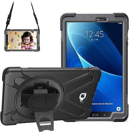 Gerutek Coque de protection robuste et résistante aux chocs avec béquille rotative à 360°, pour Samsung Galaxy Tab A 10.1 SM-T580/T580, avec sangle ...