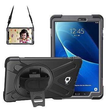 Gerotek - Carcasa para Samsung Galaxy Tab A 10.1 (SM T580/T585), Resistente ya Prueba de Golpes, función Atril y Correa para la Mano, Color Negro