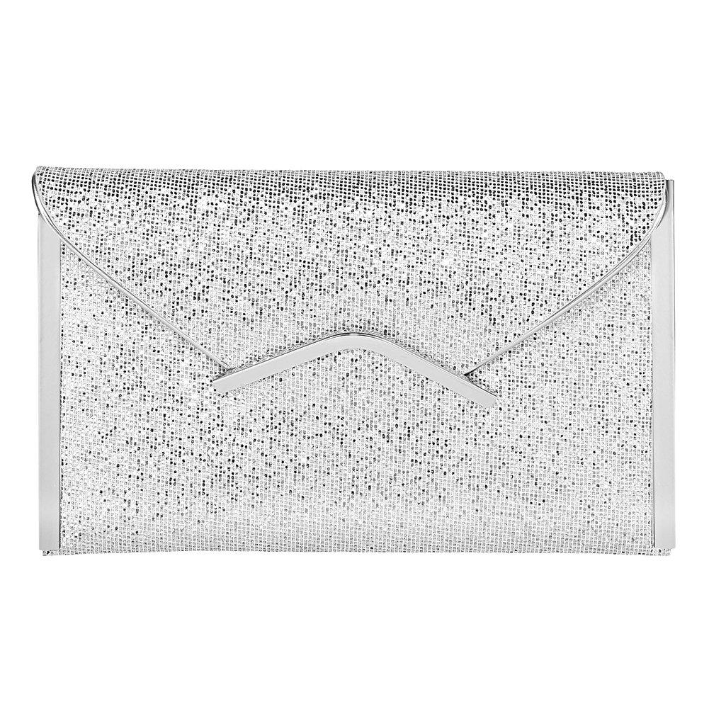 Jubileens Women Glitter Sequins Handbag Party Evening Envelope Clutch Purse Wallet (Silver 1)