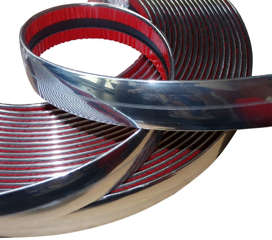 AERZETIX: Tira adhesiva para decoracion de ní quel cromo para coche color plata 25mm 4.5m SK2-C12422-AB16