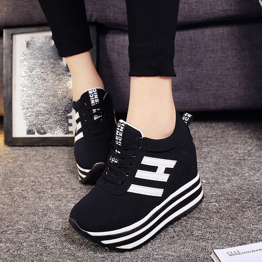 Claystyle High Platform Shoes Women Lace Up Sneaker Canvas Wedge Thick Bottom Sport Shoes Loafers(Black,US: 6.5) by Claystyle Shoes (Image #4)