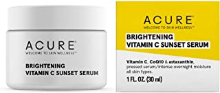 product image for Acure Brightening Vitamin C Sunset Serum | 100% Vegan | For A Brighter Appearance | Vitamin C, CoQ10 & Astaxanthin | Intense Overnight Moisture | For All Skin Types | 1 Fl Oz