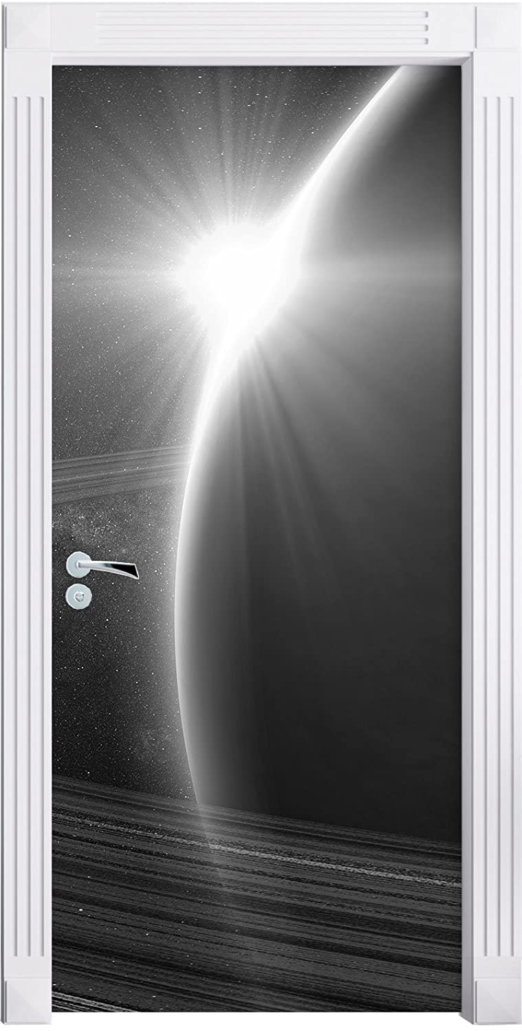 Cosmic Planet Saturn in space art B & W as Mural, Format: 200x90cm, door frame, door stickers, door decoration, door stickers Stil.Zeit