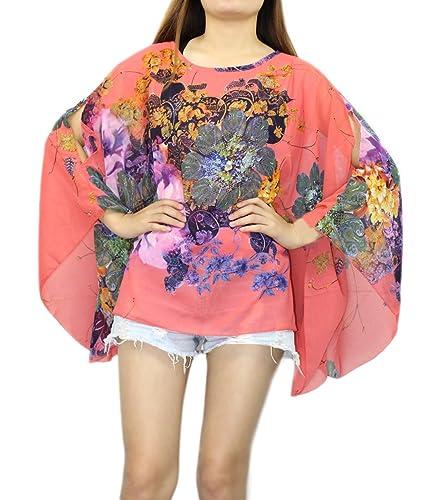 Boho Batwing manga de gasa de la blusa de las mujeres de impresión floral informal suelta Kimono cam...