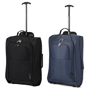 """0caa3508d Set of 2 21""""/55cm 5 Cities Cabin Approved Hand Luggage Lightweight Trolley  Bags"""