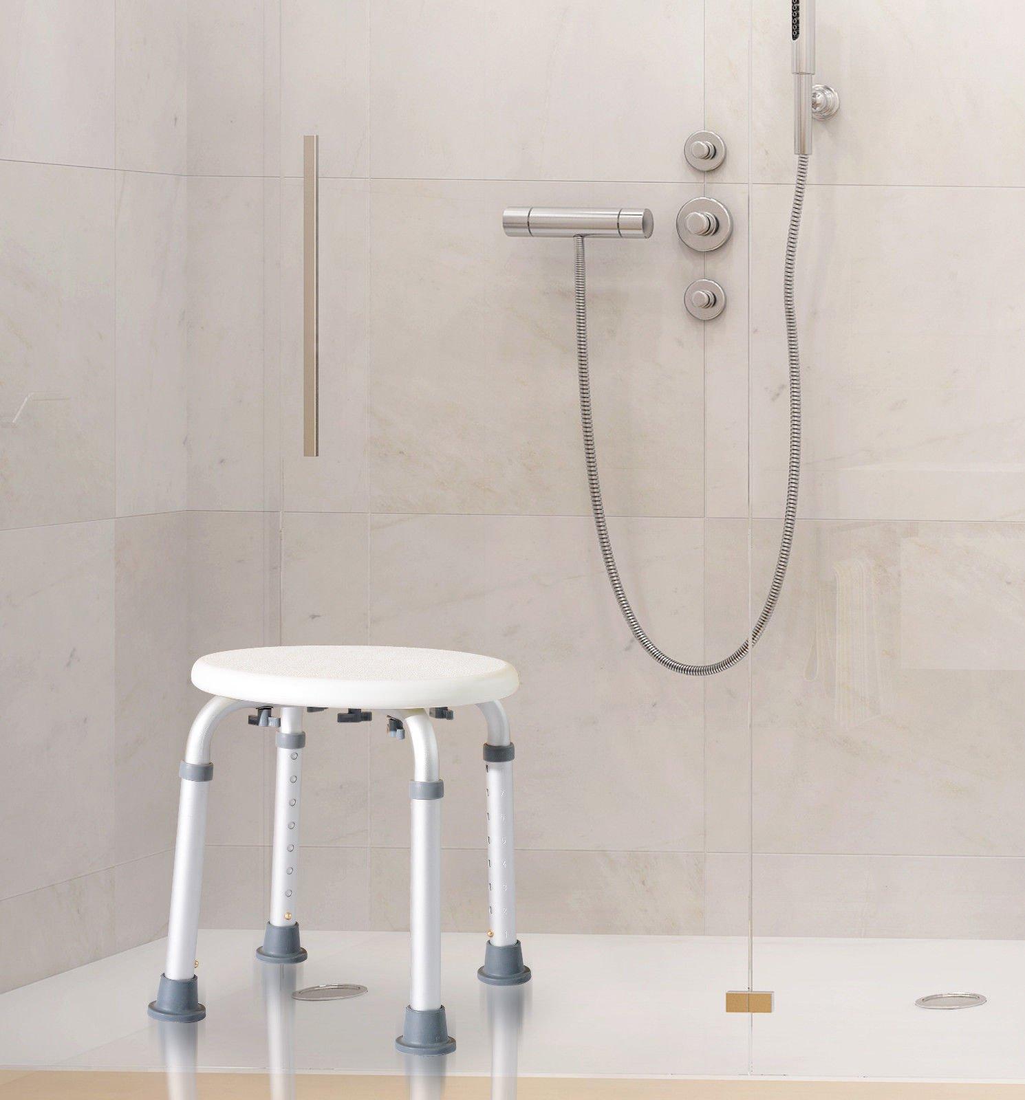 GHP 12.6''-13.5'' Lx12.6-13.5'' Wx13.7-20.6'' H White Bathroom Medical Aid Armed Chair