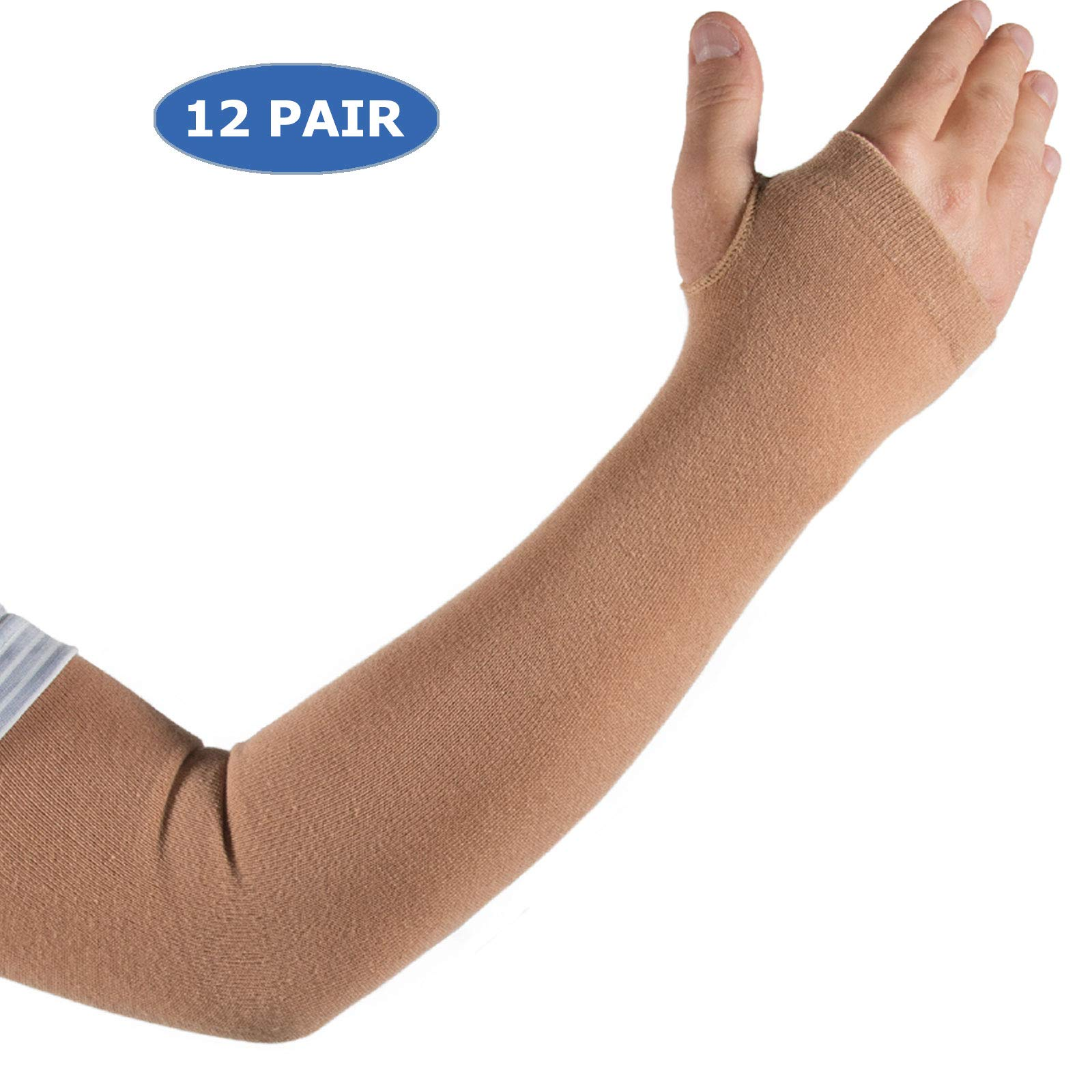 Skin Protection Arm Sleeves for Men & Women | Protect Sensitive Arm and Hand Skin Against Tears, Bruising and Sun Exposure (Available in 4 Sizes and 1, 2 & 12 Pair Packs)