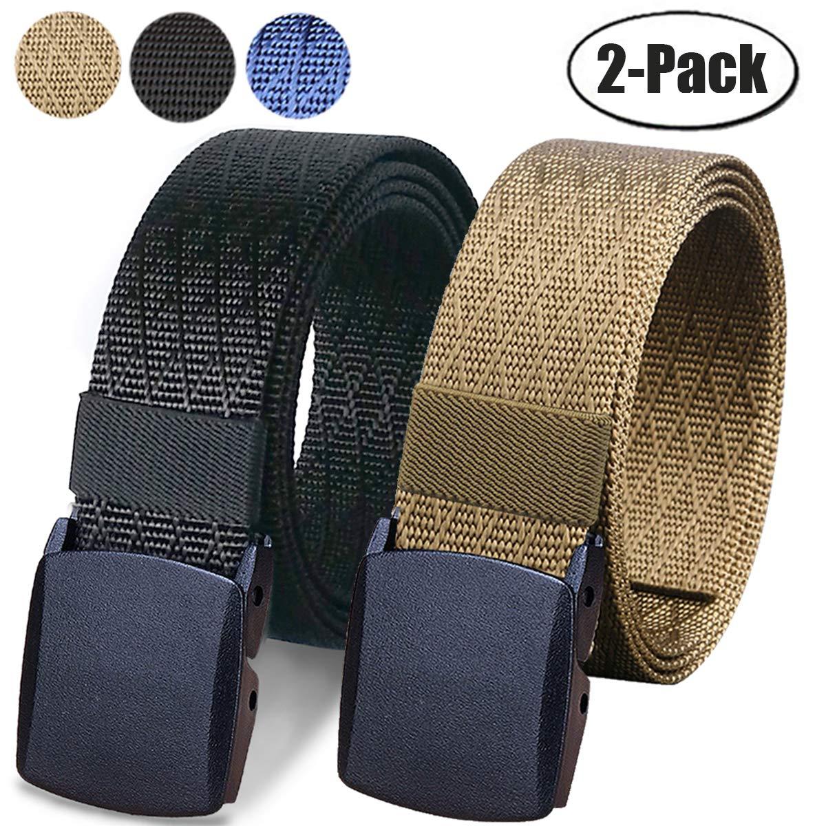 WYuZe 2 Pack Nylon Belt, Outdoor Military Web Belt Men's Tactical Webbing Belt (bbrown)