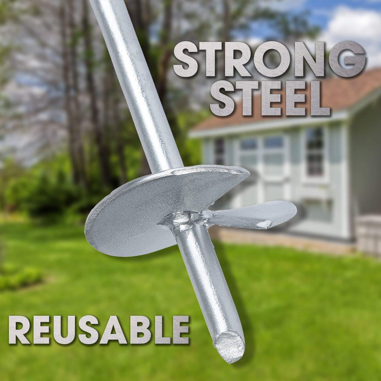 Reusable Powerful 2-Piece Earth Auger Shed Anchor Kit 10 Sec Install w//Cordless Drill Rust Proof Steel Anchor Set Heavy Duty 1000 LBS Pressure Tested Hold Per Stake Galvanized Last 20 Years