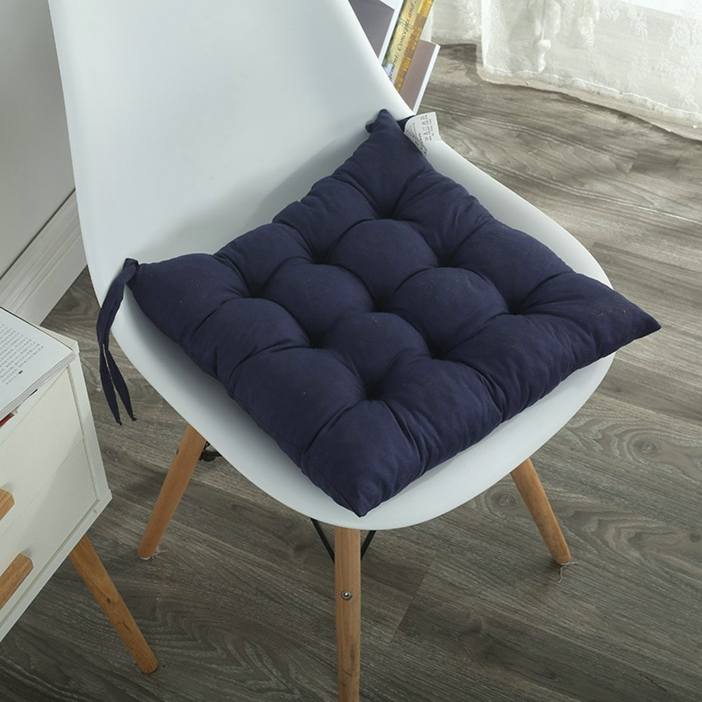 ELFJOY Solid Square Tufted Chair Pads Set of 4 Indoor Cushions Seats with Ties /… Blue