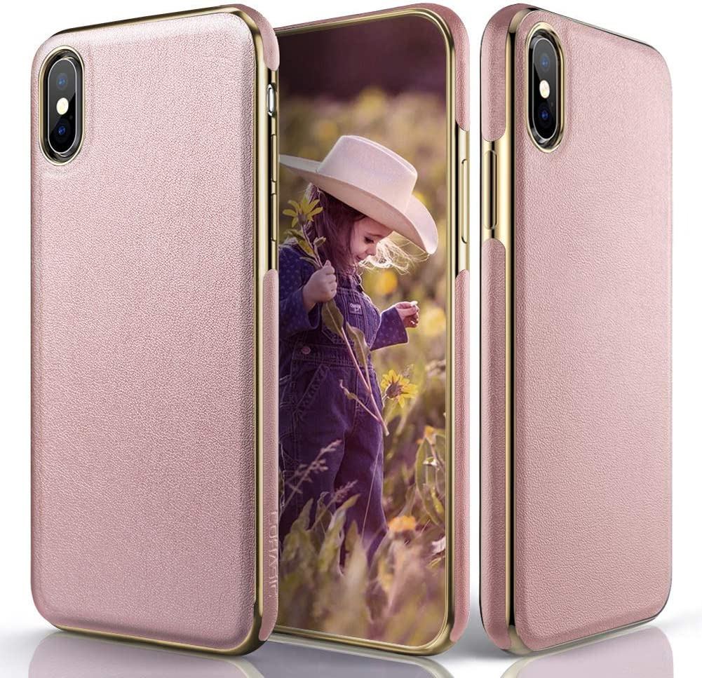 LOHASIC Case for iPhone Xs Max 6.5 inch, Luxury Slim Fit Flexible Soft Bumper Pink Cute Vintage Girly Cover Cases Compatible with Apple iPhone Xs Max (2018) - Rose Gold