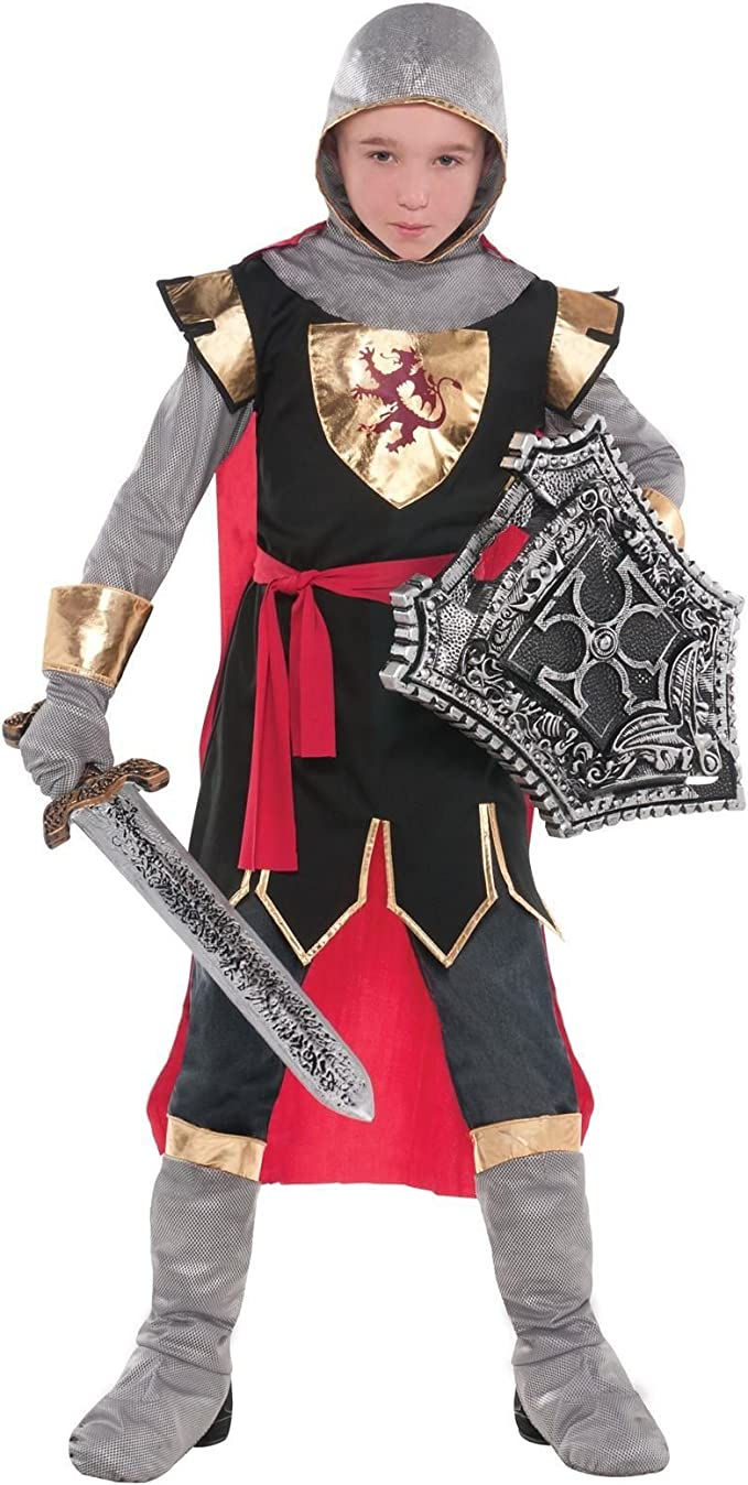 Child Medieval Warrior Metallic Chain Mail Hood Book Week Fancy Dress Accessory