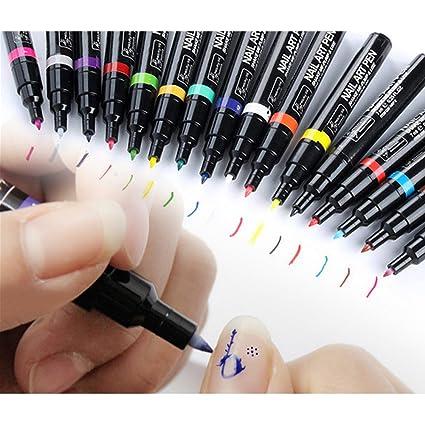 16 pcs Lápices para Decorar Uñas,AZXES,Pluma para Arte Uñas de Colores 16