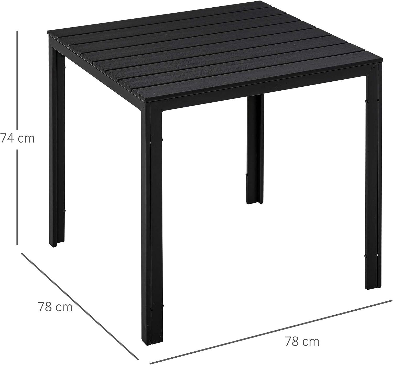 78L X 78l x 74H cm ch/âssis m/étal /époxy Plateau PE /à Lattes Imitation Bois Noir Outsunny Table carr/ée Bistro de Jardin dim