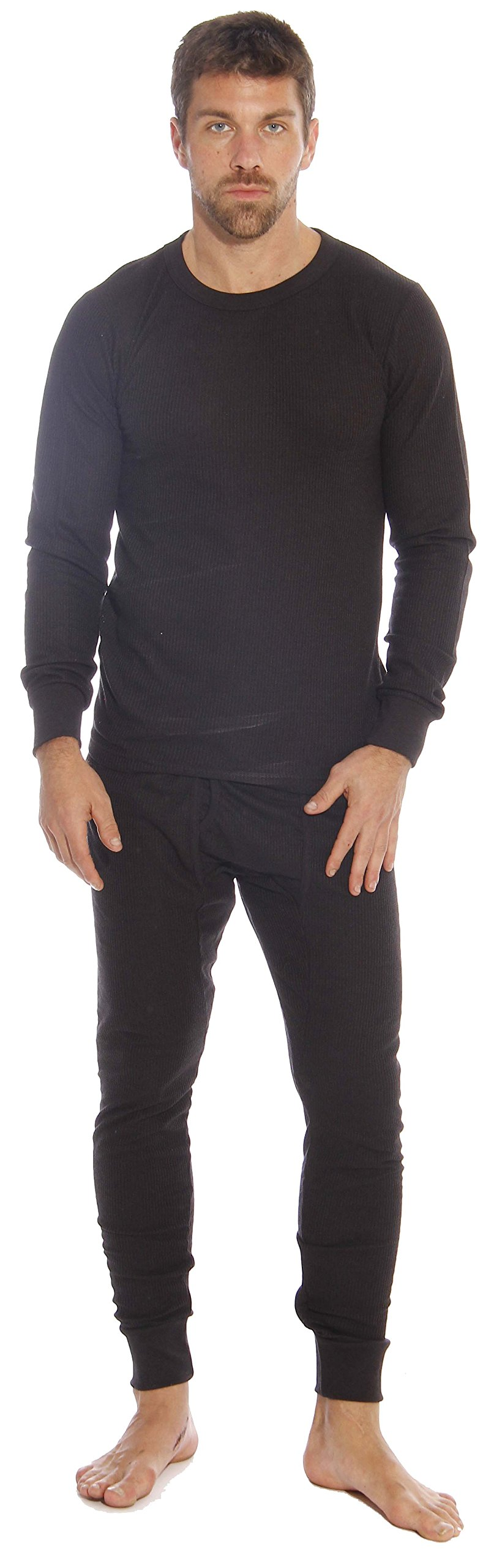 At The Buzzer Thermal Underwear Set for Men 95962-Black-L by At The Buzzer