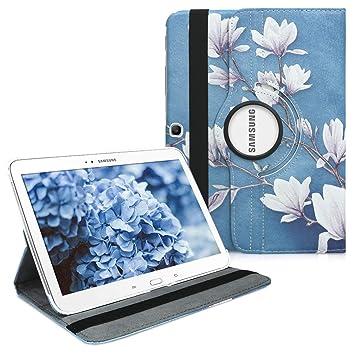 kwmobile Funda compatible con Samsung Galaxy Tab 3 10.1 P5200/P5210 - Carcasa de cuero sintético para tablet en marrón topo / blanco / gris azulado