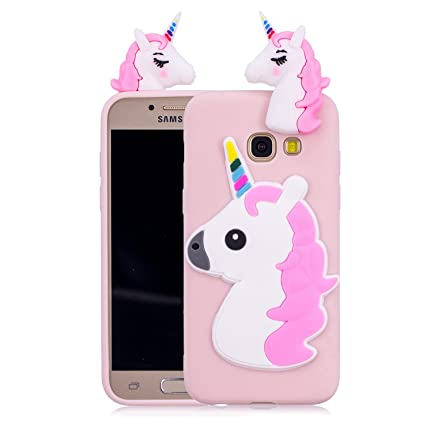 b269eb05581 Funluna Funda Samsung Galaxy A3 2017, 3D Unicornio Silicona Dibujo Animado  Suave Case Cover Protección