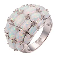 CYWNA White Fire Opal White Gold Plated Engagement Wedding Party Ring Size 6-10