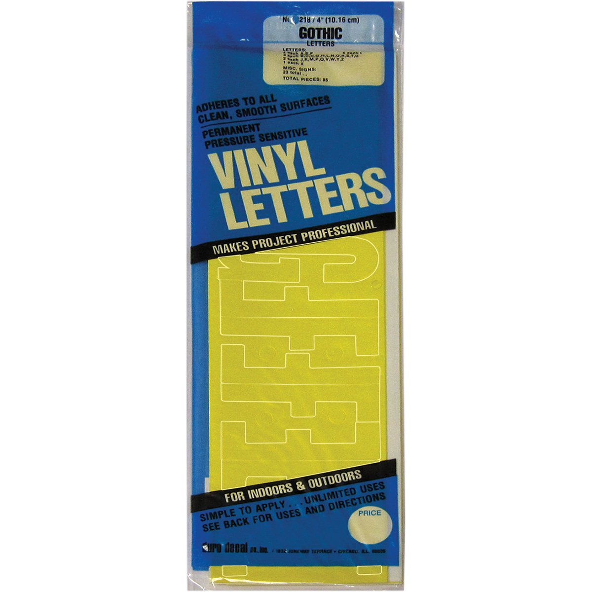 Graphic Products Permanent Adhesive Vinyl Letters (95/pkg), 4, Yellow 4 D3218-YELLO