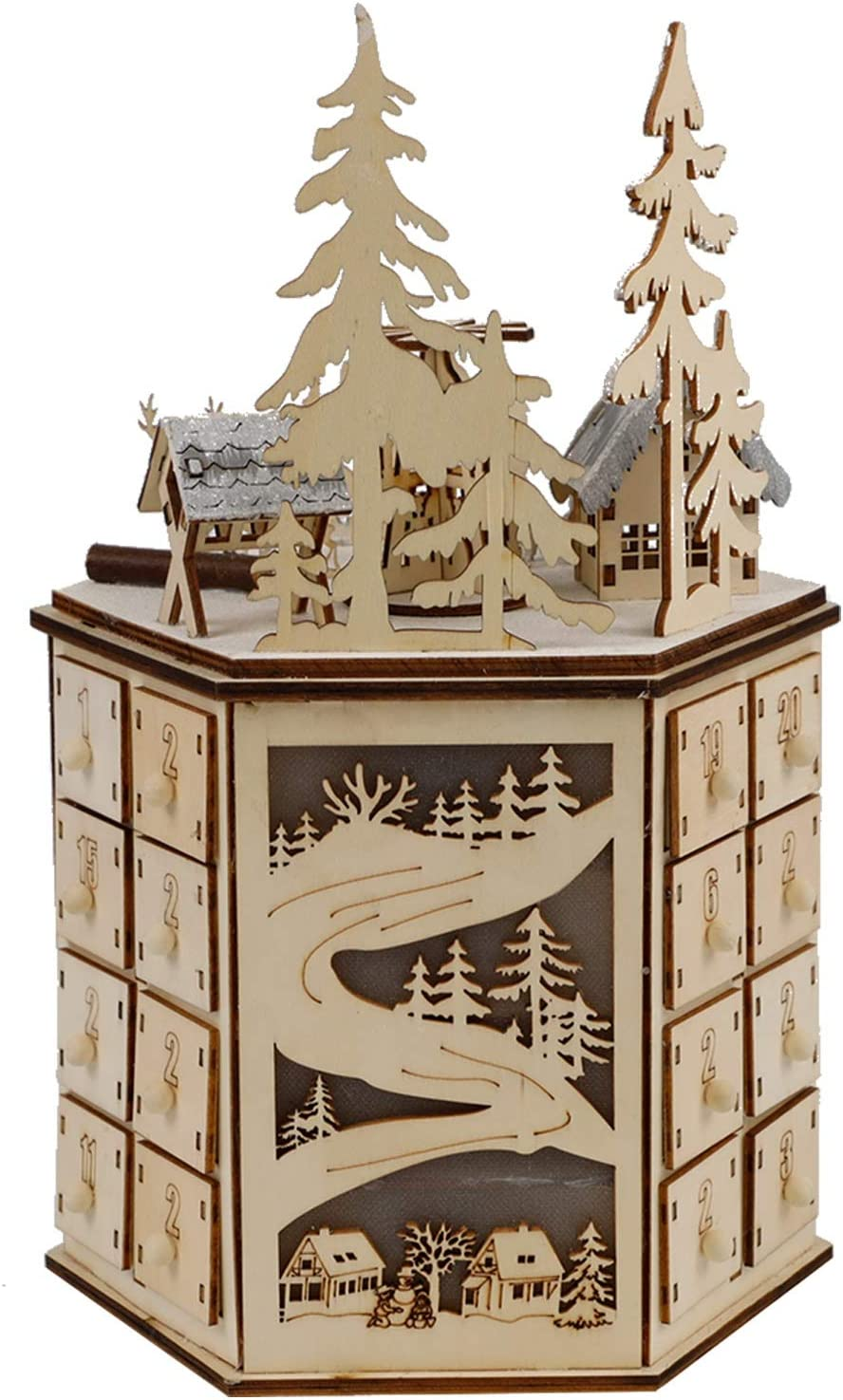 MorTime LED Revolving Music Box Advent Calendar Decorated with Christmas Tree Reindeer House LED Lights, Lighted Wooden Carved 24 Day Countdown to Christmas Calendar, 24 Storage Drawers