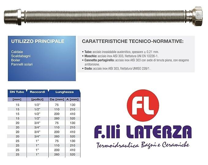 inoxestens Tubo Acoplamiento flexible extensible acero inoxidable para agua Calefacción 1/2 L. 260 x 520 mm MF Made in Italy: Amazon.es: Bricolaje y ...