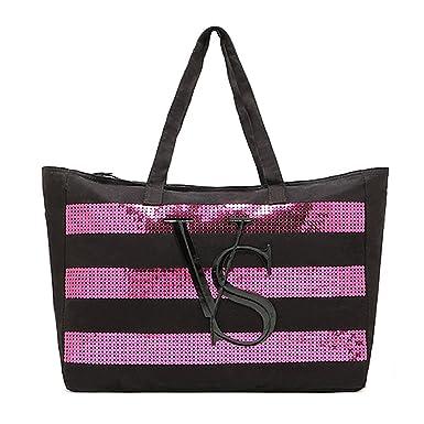 b239b2ec3 Image Unavailable. Image not available for. Color: Victoria's Secret Large  Tote Bag Black/Pink Sequin