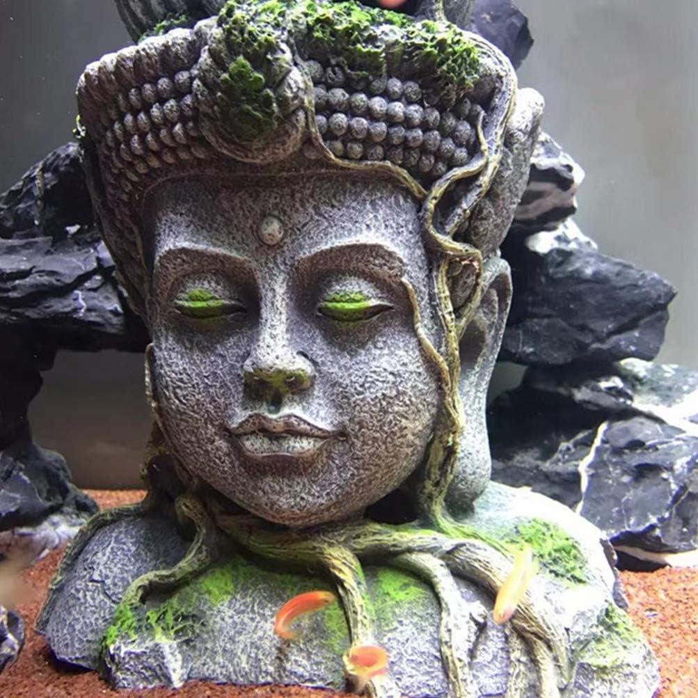 Balacoo Estatua de Cabeza de Buda Decoraciones para Acuarios Escondite de Peces de Resina Cueva Betta para Decoraciones de Peceras