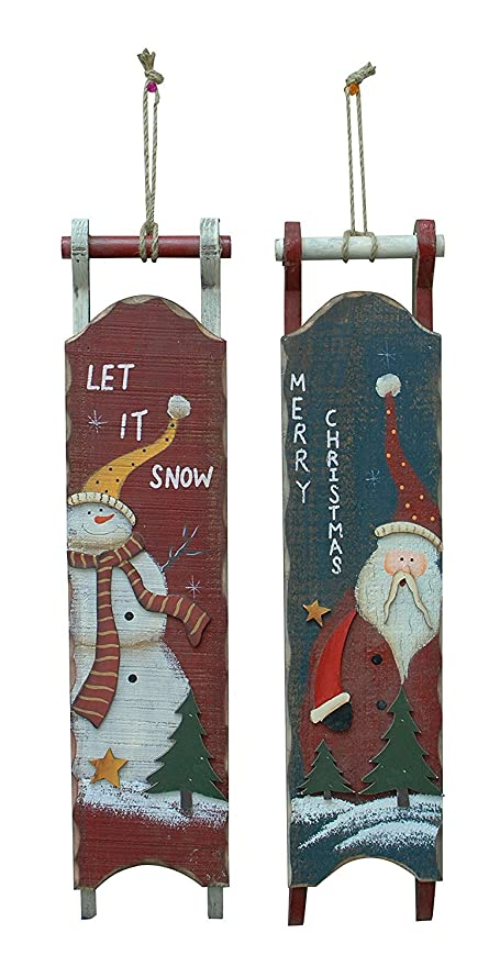 wood sled christmas decoration wall hanging sleigh decor christmas tree hanging ornaments 22h set - Wooden Sled Decoration Christmas