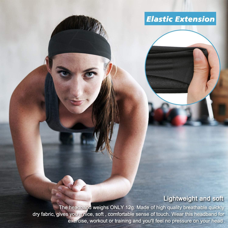 TAGVO 3Packs Diadema de Entrenamiento Deportivo para Hombre y Mujeres,Antideslizante El/ástico Que Absorbe la Humedad Bandas de Sudor Suaves y Ligeras,Deportes//Yoga//Baile//Correr//Ciclismo//Ejercicio