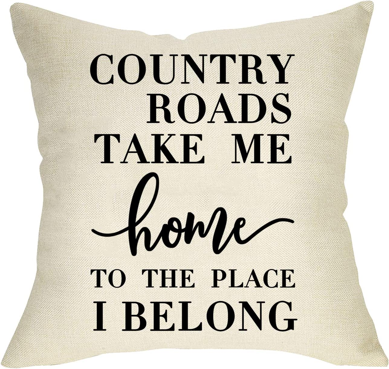 Softxpp Rustic Farmhouse Decorative Throw Pillow Cover Country Roads Take Me Home to the Place I Belong Quotes, Christmas Home Cushion Case Decor Square Pillowcase Xmas Decoration for Sofa Couch 18x18