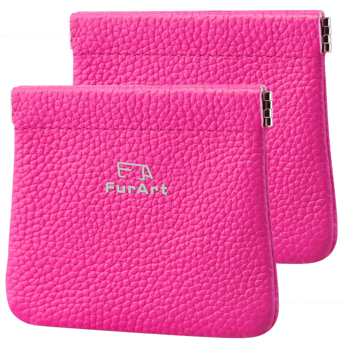 2 PACK Genuine Leather Squeeze Coin Purses Pouches for Women/&Men