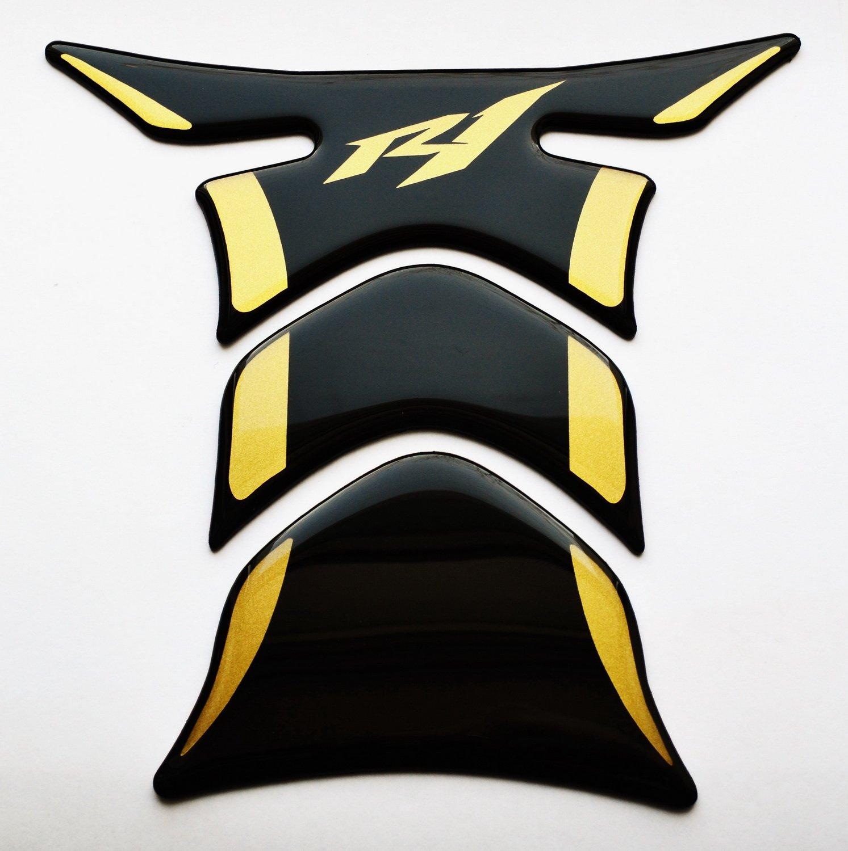 RZ Moto Fit Yamaha YZF R1 YZF-R1 Piano Black + matt Gold Motorcycle tank Protector pad Decal Sticker