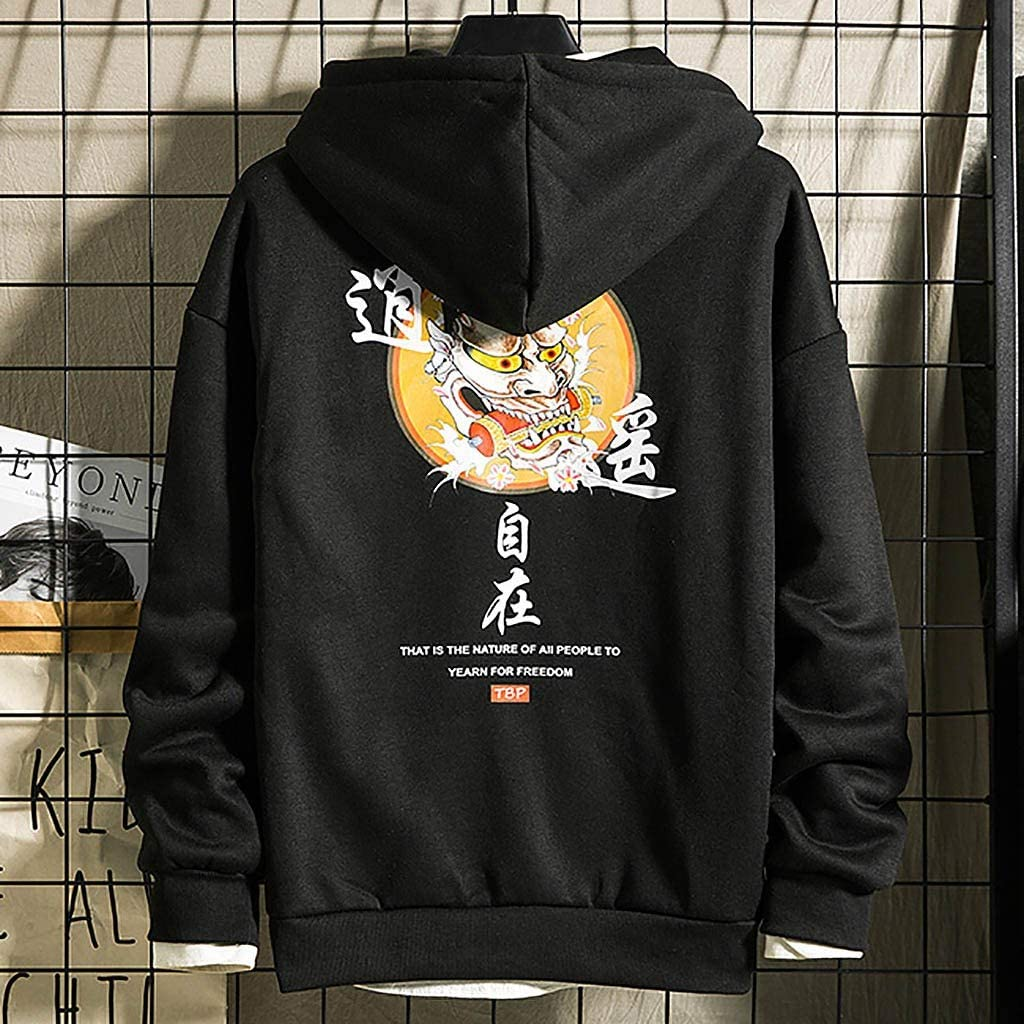 NREALY Su/éter Mens Casual Printed Slim Fit Hoodies Outwear Blouse Sweatshirt