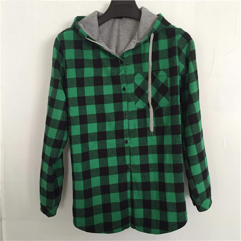 Fashion Women Hoodies Cotton Coat Long Sleeve Plaid Cotton Hoodies Casual Button Hooded Sweatshirt Oversize