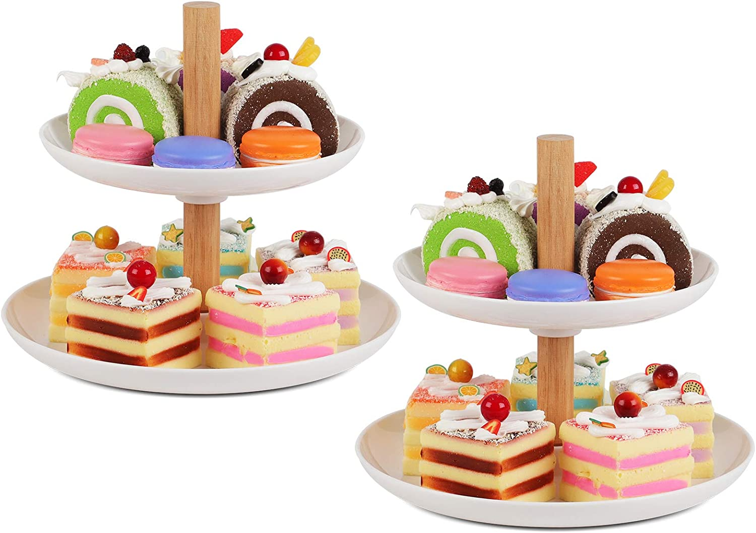 Kootek 2 Pack Dessert Stand Cupcake Stands, White Serving Trays Plastic Cake Stand Reusable Pastry Holder Fruit Display Plate for Wedding Birthday Baby Shower Holiday Christmas Tea Party Decorating