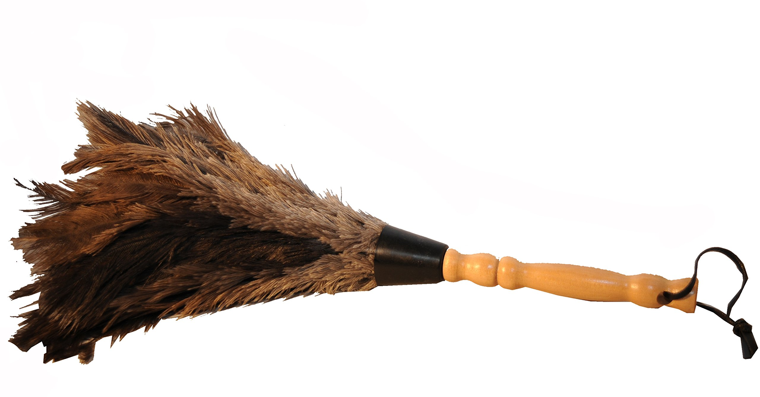 Feather Duster with Design Natural Comfort Hardwood Handle / Grey Ostrich Feathers / Hand Duster - 15''