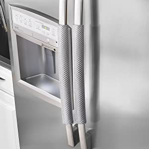 "OUGAR8 Refrigerator Door Handle Covers Handmade Decor Protector for Ovens, Dishwashers.Keep Your Kitchen Appliance Clean From Smudges,Food Stains(Rhombus Gray,12"" L4 W)"