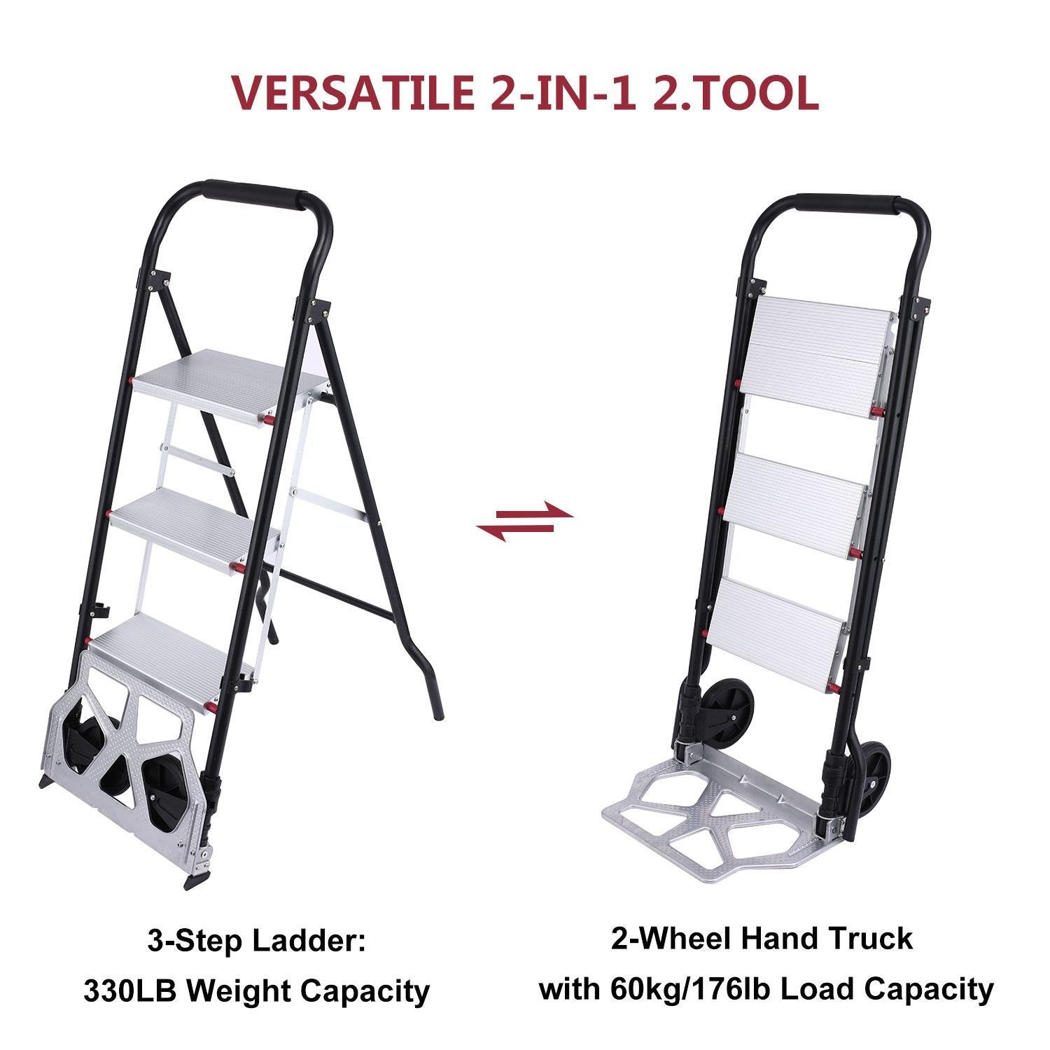 2 In 1 Convertible 3-Step Ladder Hand Truck, Folding Hand Cart Trolley Dolly with 2 Wheels, Trolley 80kg, Ladder 150kg