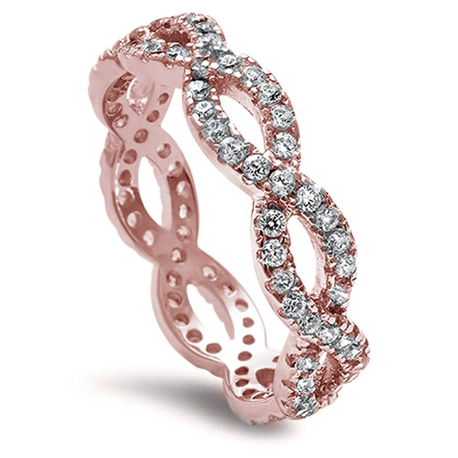 Full Eternity Infinity Wedding Engagement Ring Round CZ Rose Toneated 925 Sterling Silver
