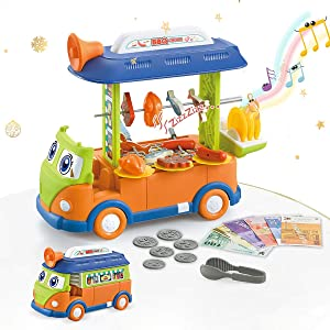 Kimiangel BBQ Food Truck Play Sets for Kids, Happy Food Truck Bus with Music & Lighting,Play BBQ Truck for 3/4/5/6/7 Years Old Toddlers ,Girls and Boys